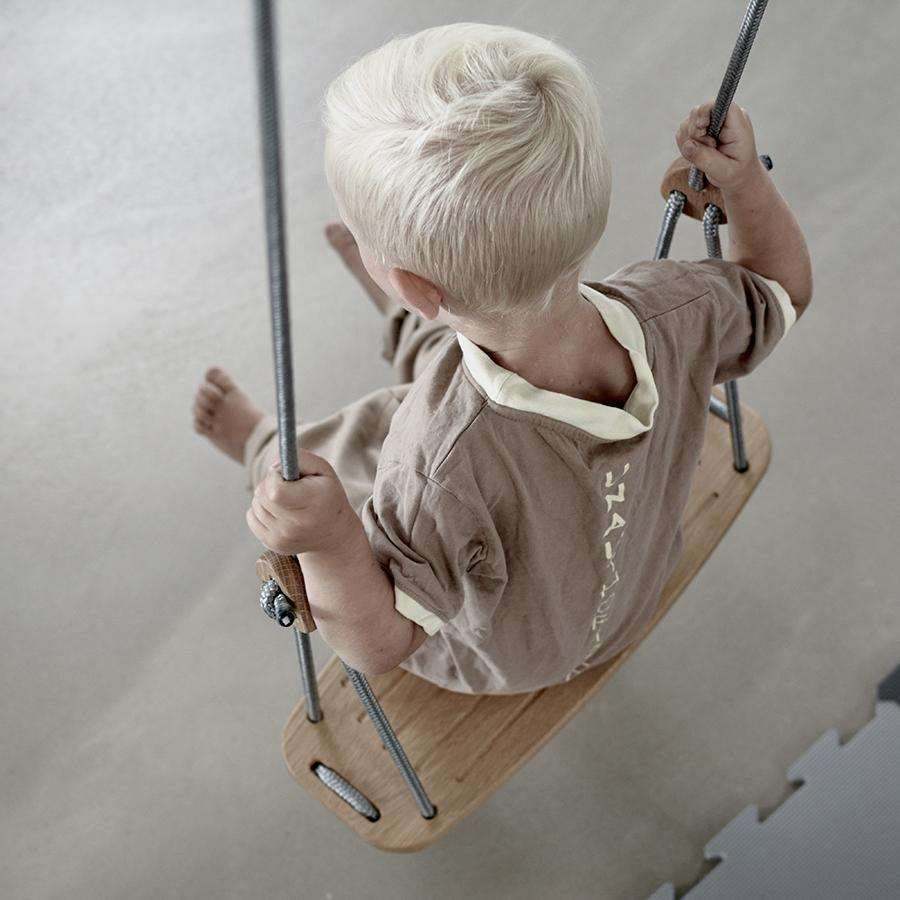 "Kinderschaukel ""Classic Oak Grey Ropes"""