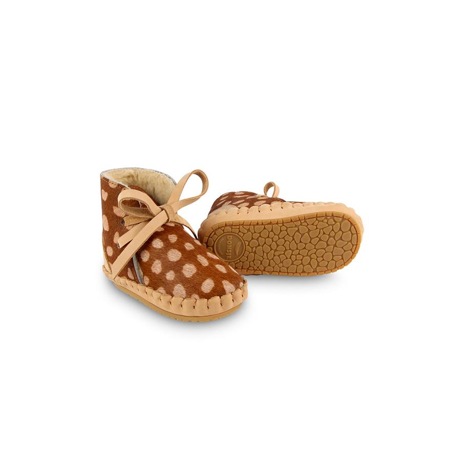 "Babyschuhe ""Pina Exclusive Lining Brown Spotted Cow Hair"""