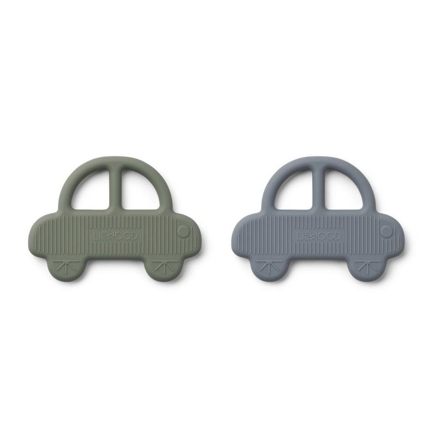 "Beißring ""Geo Car Faune Green / Blue Wave"" 2er Pack"