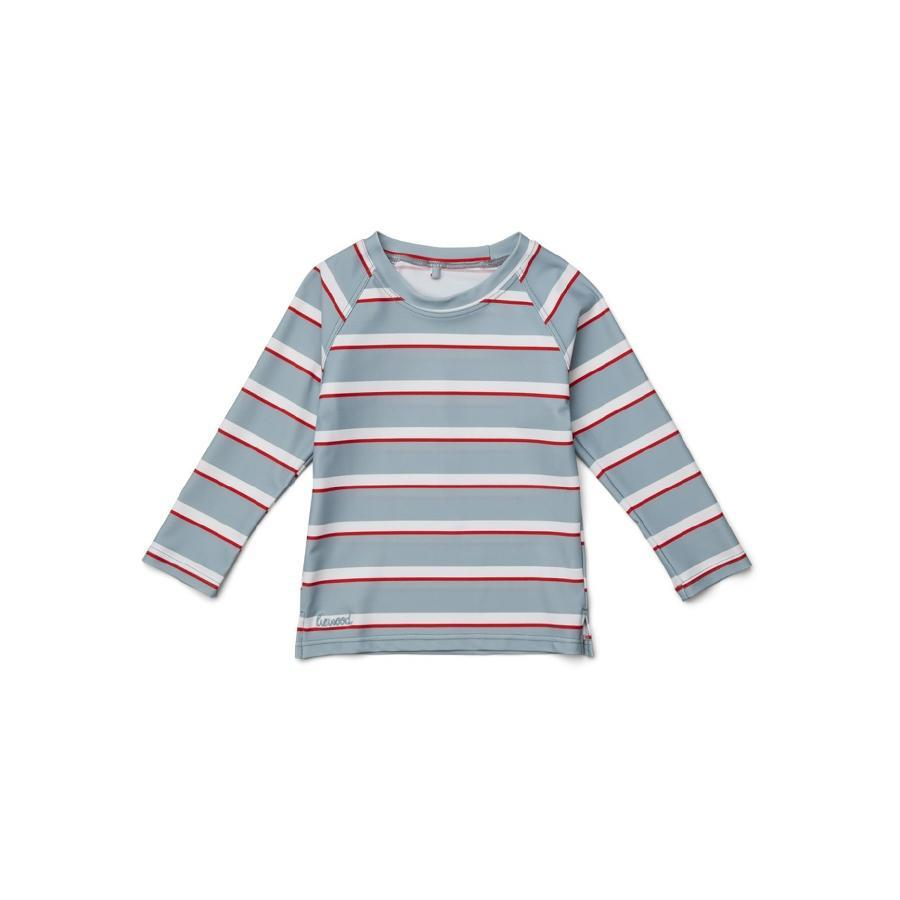 "UV-Badeshirt ""Noah Stripe Sea Blue / Apple Red / Crème de la Creme"""