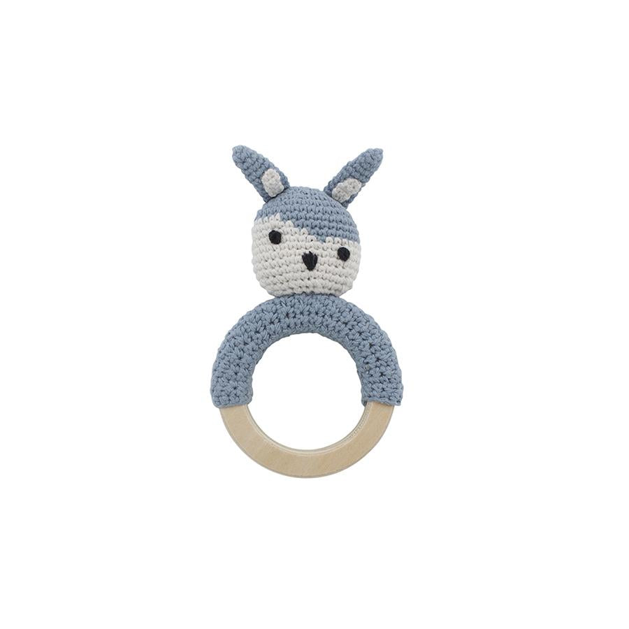 "Babyrassel ""Crochet Siggy The Rabbit On Ring Powder Blue"""