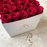 Bling Blooms | Infinity Roses | white bloom box filled with Ruby Red roses