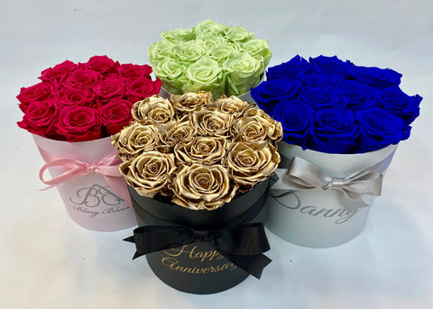 Infinity Rose Hatbox grouping | Midi Size Hatboxes in multiple colours | Bling Blooms
