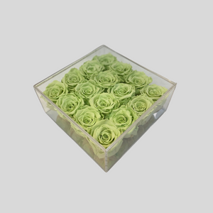 Infinity Rose Acrylic Florence Frame | 16 Roses in a clear box with mirrored base | Bling Blooms | One Year Roses