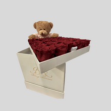 Load image into Gallery viewer, Hidden Treasures Soft Teddy Package | Romantic Red Roses with soft teddy in White Hidden Treasures Box | Bling Blooms