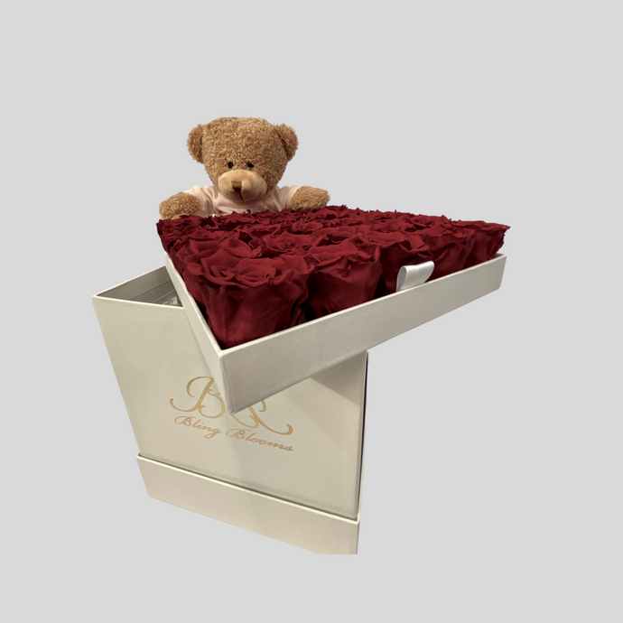 Hidden Treasures Soft Teddy Package | Romantic Red Roses with soft teddy in White Hidden Treasures Box | Bling Blooms