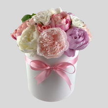 Load image into Gallery viewer, Bling Blooms | Silk Flowers | Roses and Peonies | Forever Flowers | Midi Hat Box