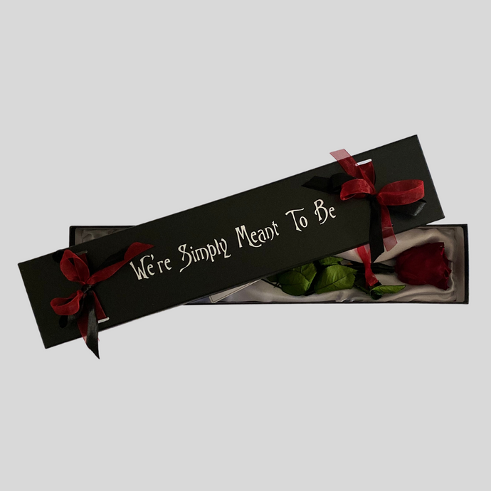 Infinity Rose We're Simply Meant To Be | Red Rose in a Black Box Semi Open | Bling Blooms