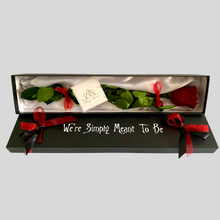 Load image into Gallery viewer, Infinity Rose We're Simply Meant To Be | Red Rose in a Black Box Open | Bling Blooms