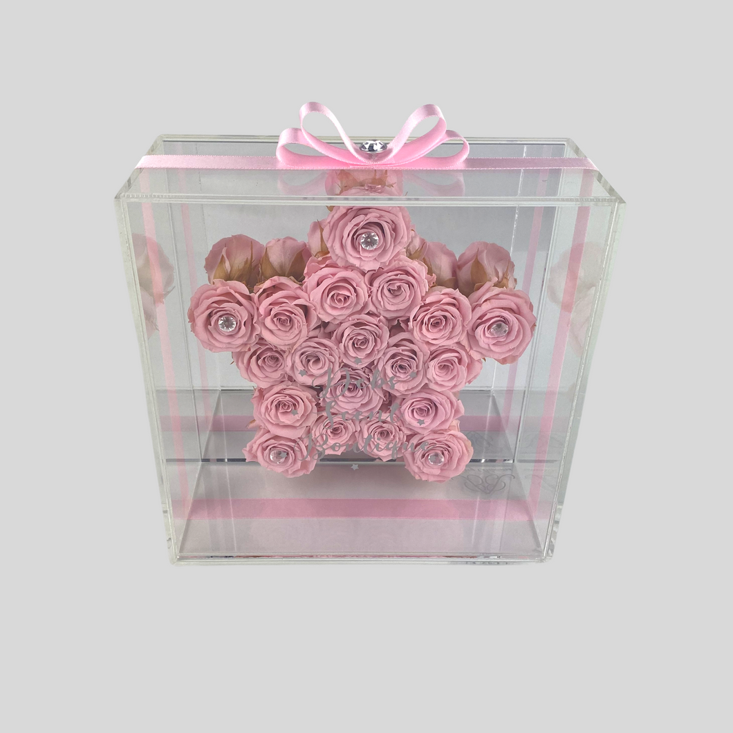 Infinity Rose Hollywood | Ballerina Pink Rose Star in Acrylic frame front | Bling Blooms | One Year Roses