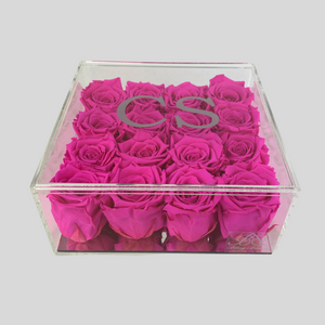 Infinity Rose Acrylic Florence Frame | 16 Neon Pink Roses in a clear box with mirrored base | Bling Blooms | One Year Roses