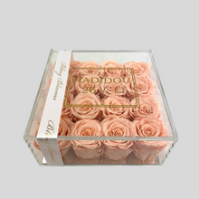 Load image into Gallery viewer, Infinity Rose Acrylic Florence Frame | 16 Perfect Peach Roses in a clear box with mirrored base | Bling Blooms | One Year Roses