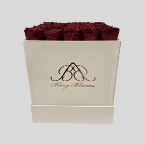 Hidden Treasures Rose Box | Romantic Red Roses in a White Hidden Treasures Box | Bling Blooms