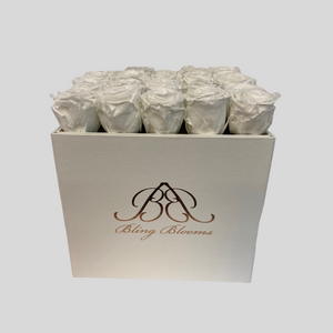 Hidden Treasures Rose Box | White Purity Roses in a White Hidden Treasures Box | Bling Blooms