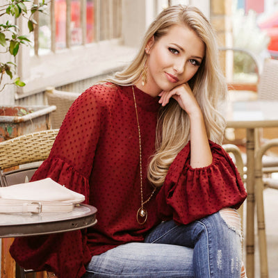 How To Style a Burgundy Balloon Top