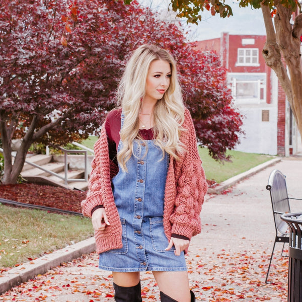 How To Style a Denim Overall Dress For the Cold