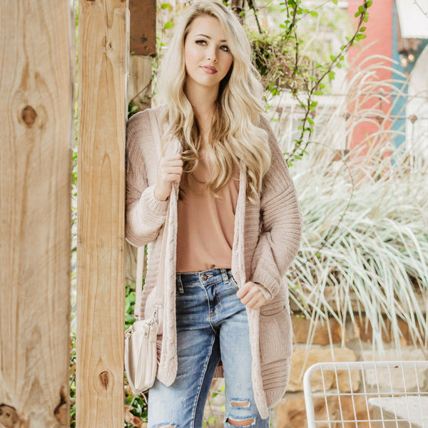 Pink Chenille Cardigans For Fall