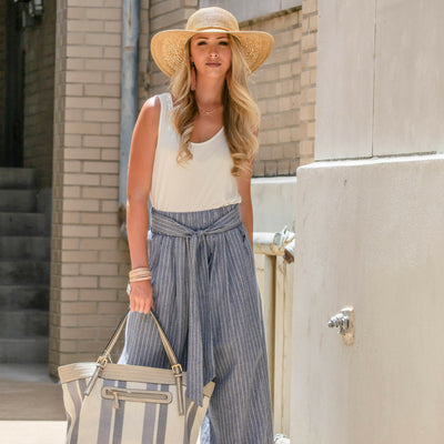 Striped Denim Culottes For The Summer
