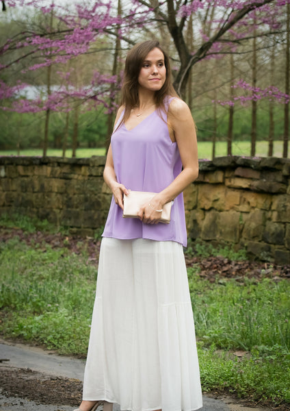 white pants purple top easter outfit