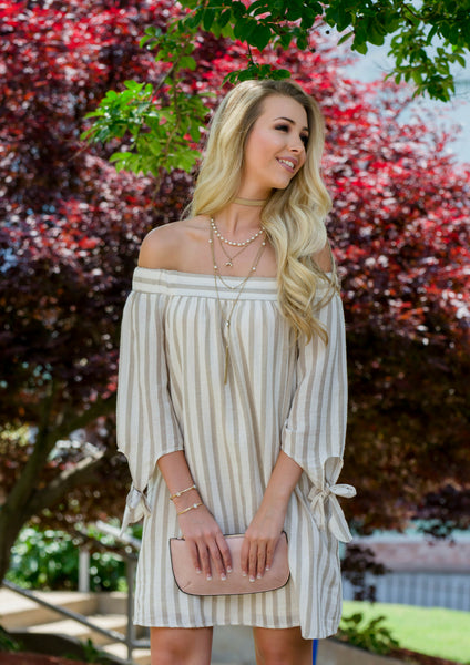 how to style a cotton striped off-shoulder dress