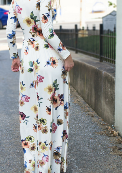how to wear a floral maxi dress for fall blog