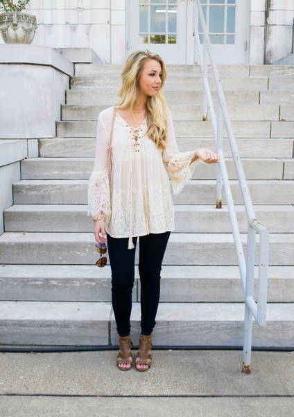 How To Style a Lace Top For Fall Blog