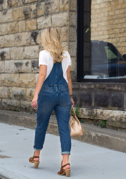 Denim Overalls With Gold Purse and Leopard Heels Blog