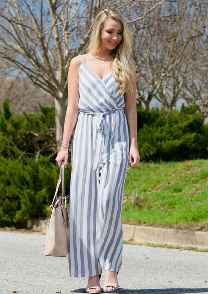 blue striped jumpsuit for spring outfit