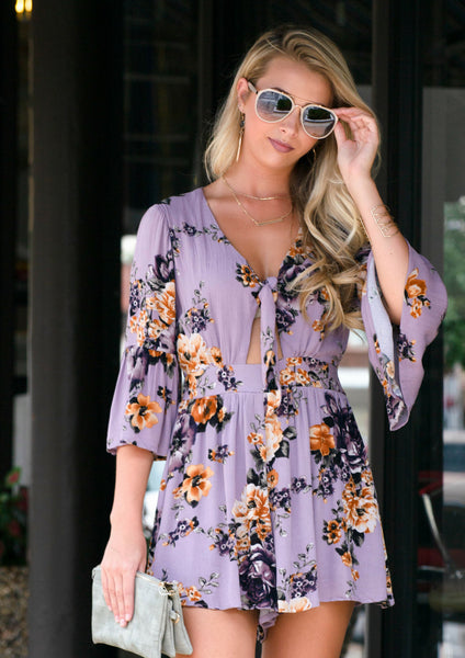 shop siloe features how to style a purple floral romper for a casual outfit