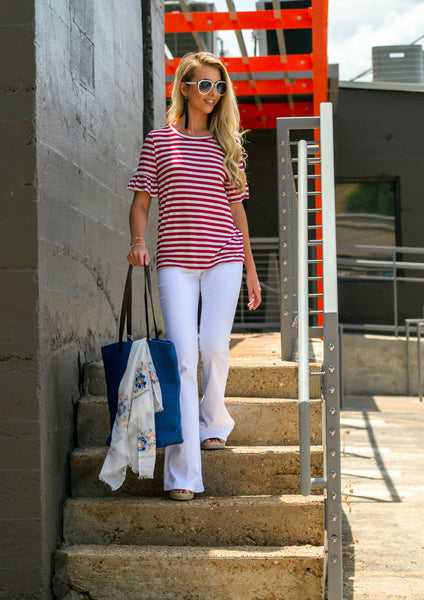 How to Style White Flared Pants and a Red Striped Top For 4th of July Outfit | Shop Siloe Boutique