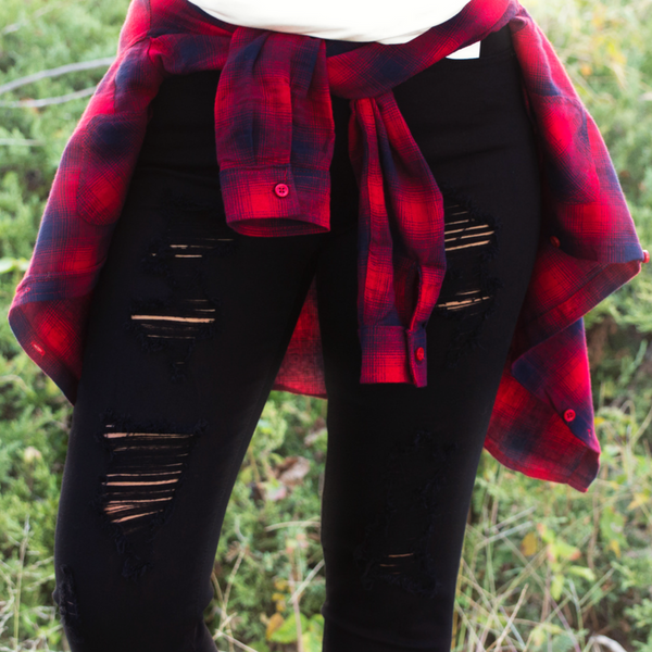 Plaid top with black jeans blog