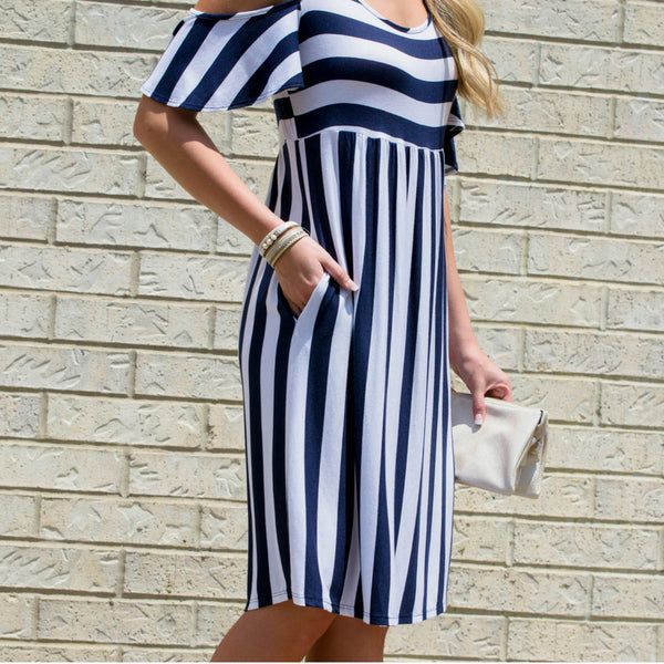 striped navy midi dress for modest outfit