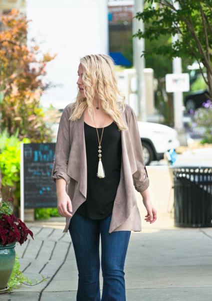 Classic Suede Jacket with flared denim jeans blog