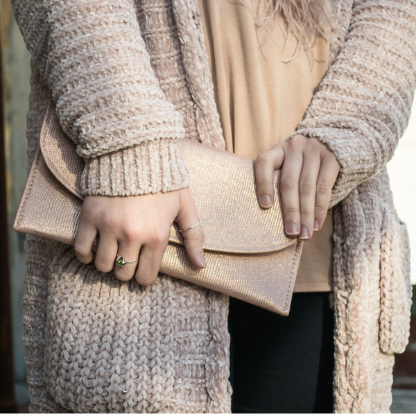 How to style a blush chenille cardigan