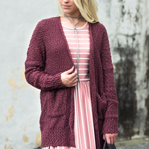 pink striped maxi dress w/ burgundy cardigan blog