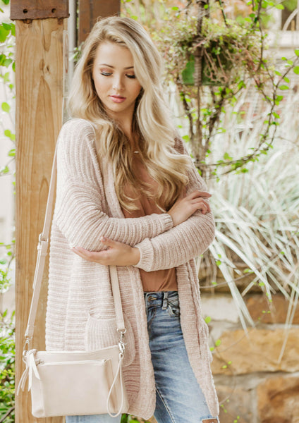 how to style a pink chenille cardigan for a casual fall outfit