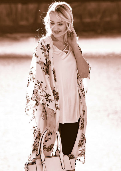 Floral Ivory Kimono Spring to Winter Transition Outfit