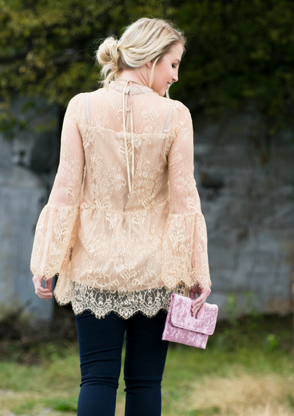 how to style a lace top & velvet wallet blog