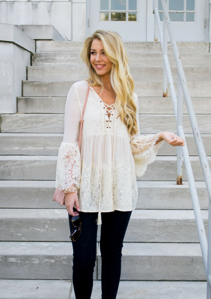 How to wear a lace top for fall blog