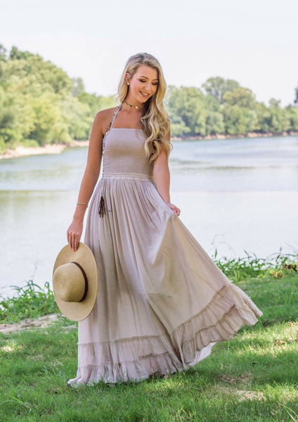 shop siloe women's boutique features how to style a bohemian beige maxi dress for a summer outfit