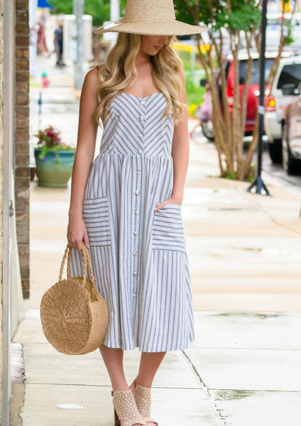 shop siloe pinstriped ivory button-up midi dress for a summer outfit