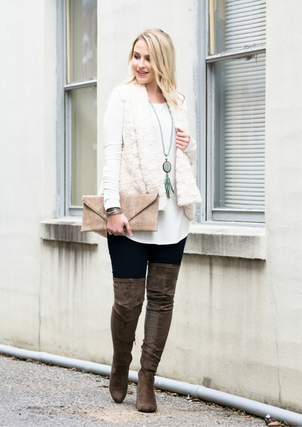 How to style a faux fur vest and knee high boots
