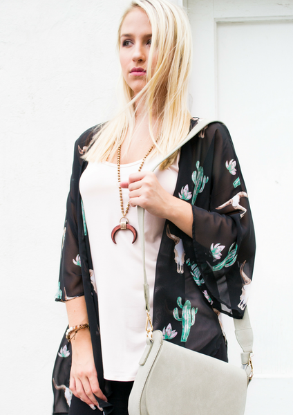 how to style a bullhead & cactus kimono for summer outfit