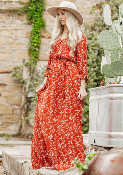 how to style a rusty red bohemian floral maxi dress for a fall outfit