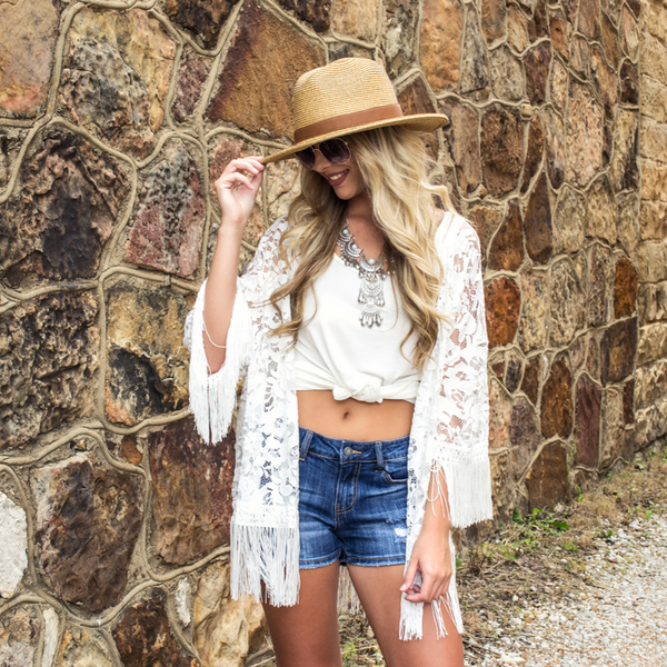 white lace kimono for a music festival outfit