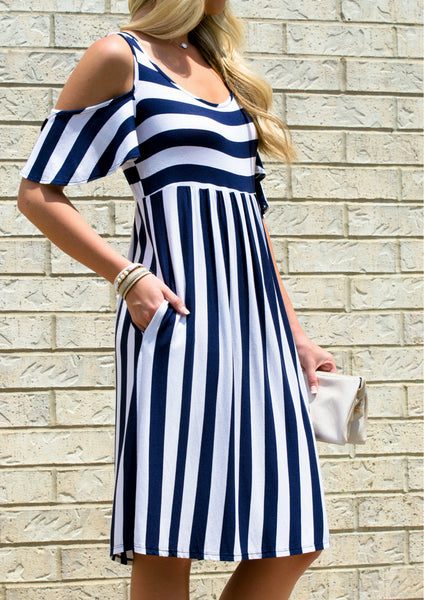 Navy striped midi dress for modest summer outfit