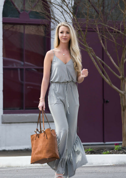 striped sage jumpsuit for spring outfit
