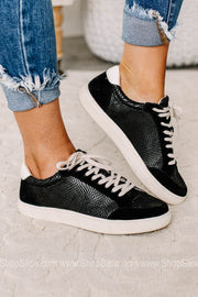 Anne Snake Printed Sneakers | Black