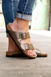 Arizona BS Washed Metallic Birkenstocks | Antique Gold