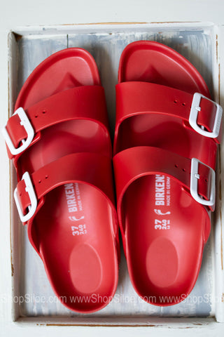 Arizona EVA Birkenstocks | Red | Narrow - Siloe